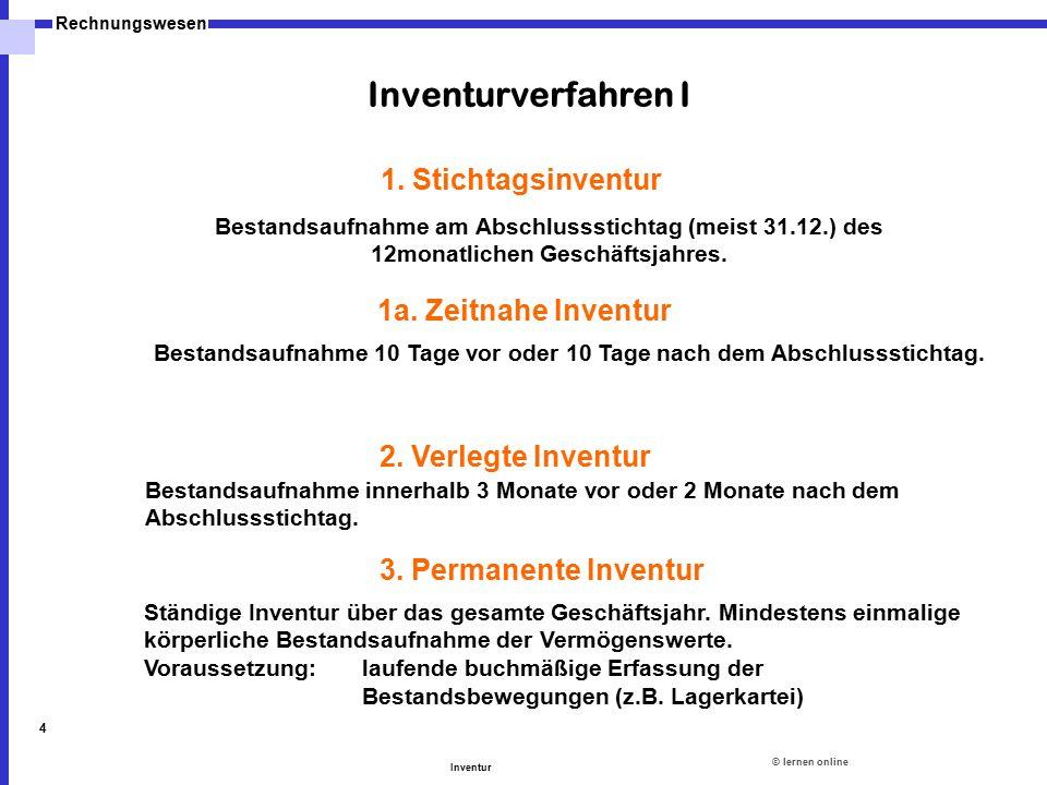 Inventurverfahren I 1. Stichtagsinventur 1a. Zeitnahe Inventur