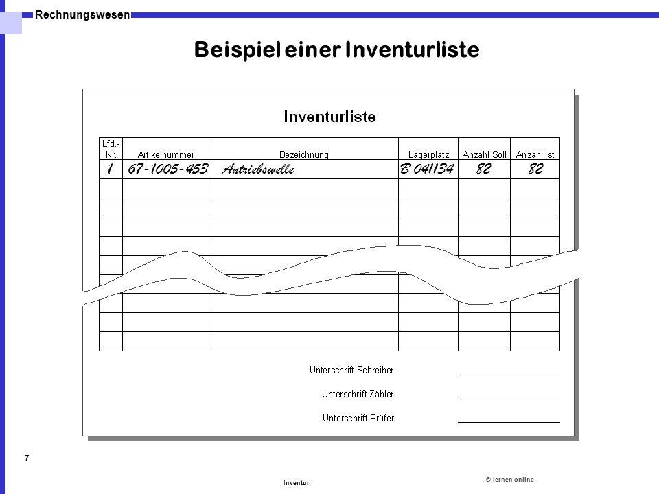 Beispiel einer Inventurliste