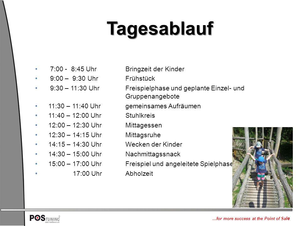 Tagesablauf 7:00 - 8:45 Uhr Bringzeit der Kinder