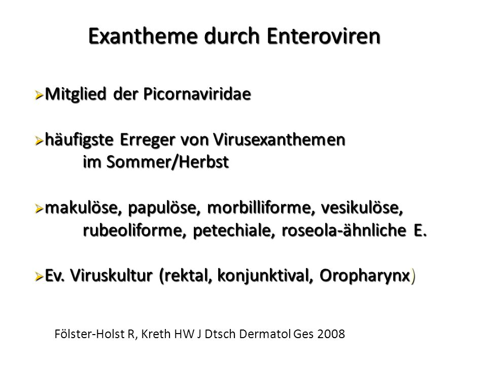 Exantheme durch Enteroviren