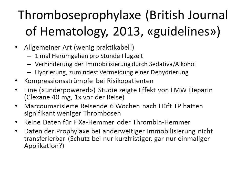 Thromboseprophylaxe (British Journal of Hematology, 2013, «guidelines»)