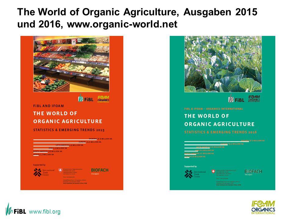 The World of Organic Agriculture, Ausgaben 2015 und 2016, www