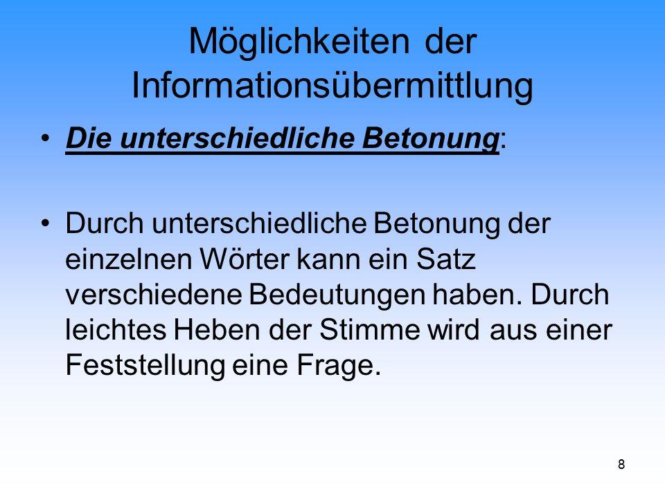 Möglichkeiten der Informationsübermittlung