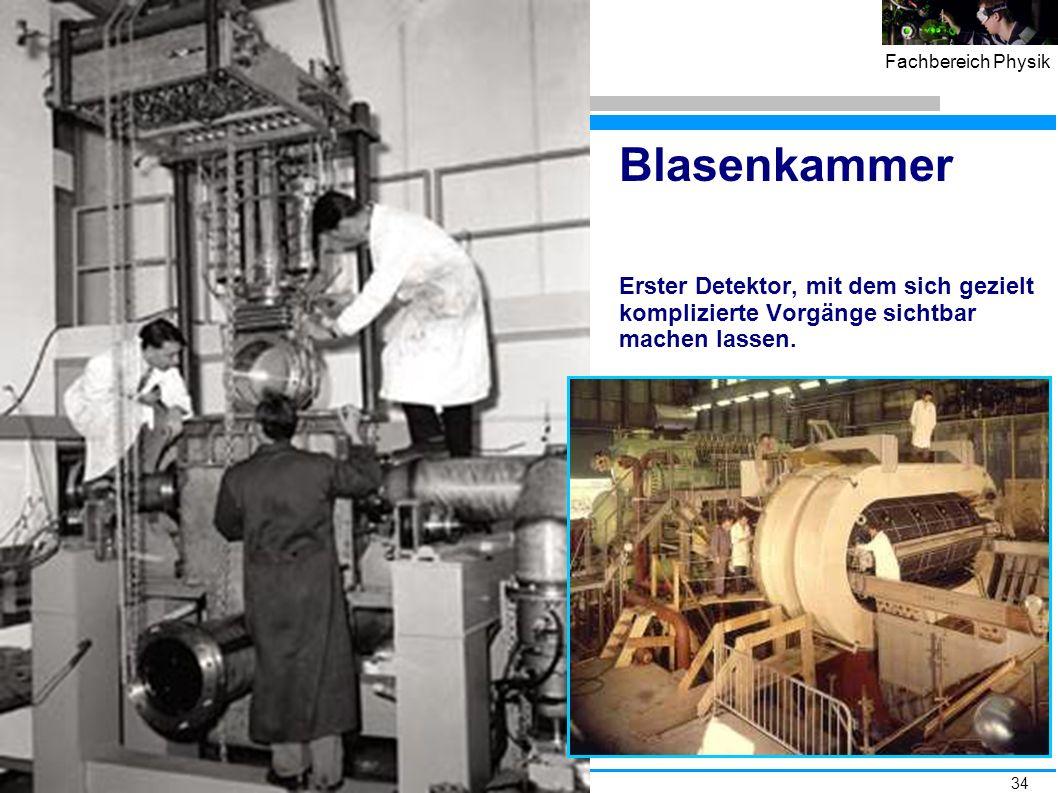 Blasenkammer Erster Detektor, mit dem sich gezielt komplizierte Vorgänge sichtbar machen lassen.