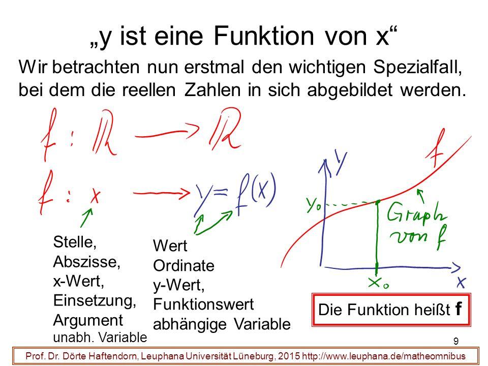 """""""y ist eine Funktion von x"""