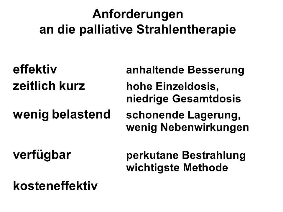 Anforderungen an die palliative Strahlentherapie