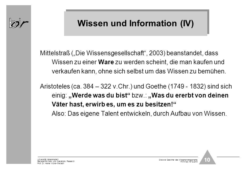 Wissen und Information (IV)