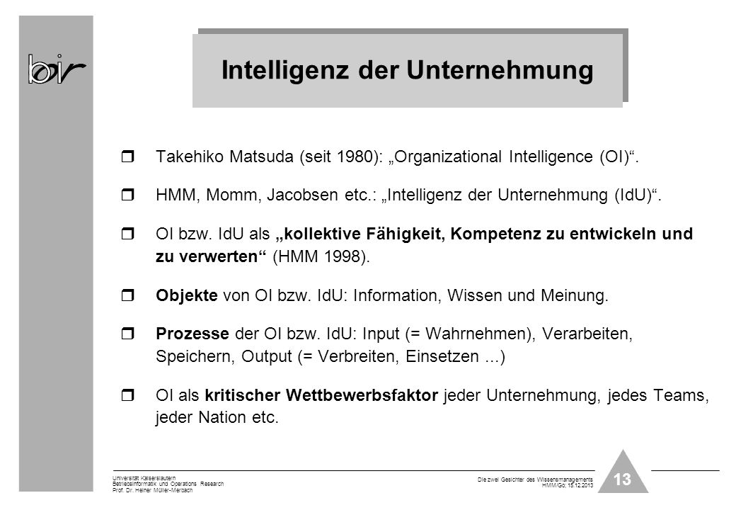 Intelligenz der Unternehmung