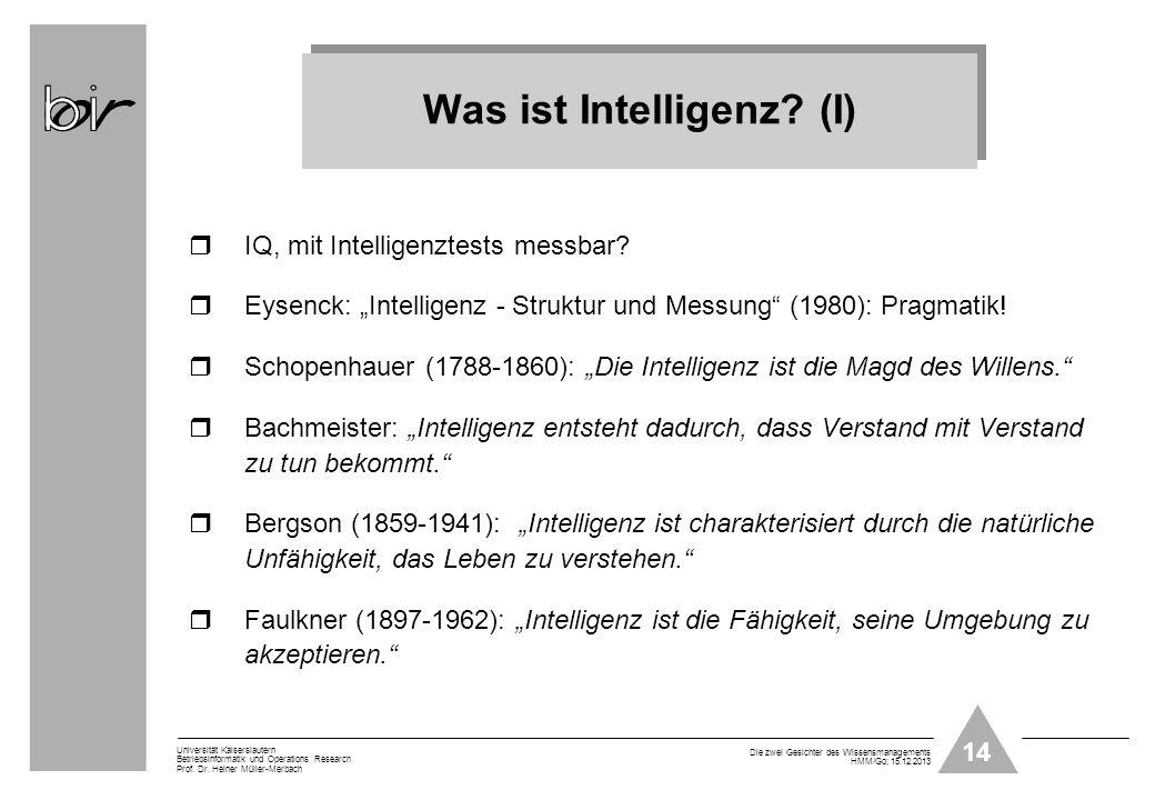 Was ist Intelligenz (I)