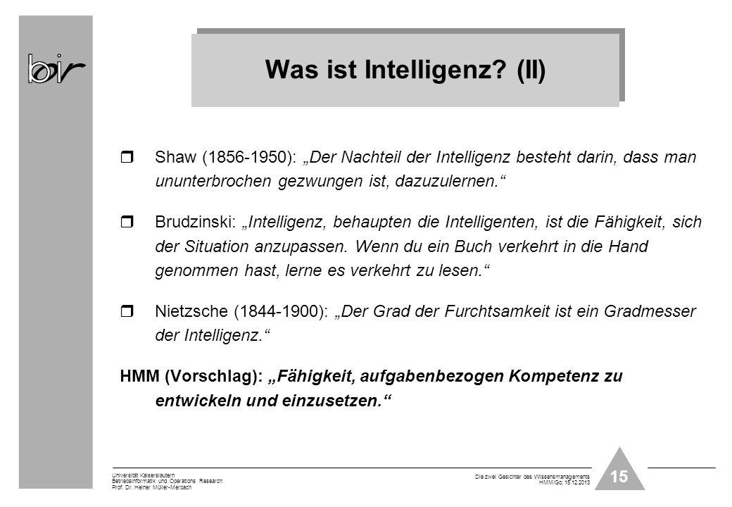 Was ist Intelligenz (II)