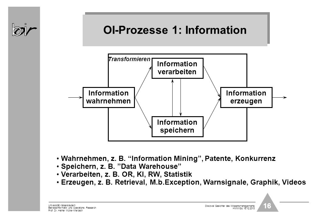 OI-Prozesse 1: Information