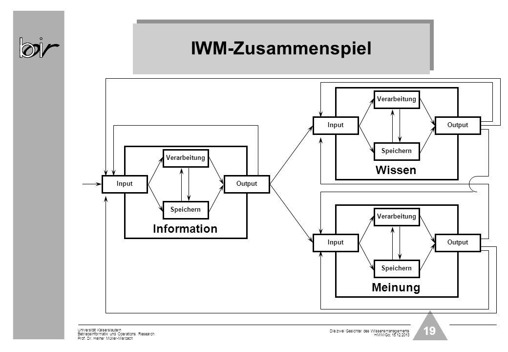 IWM-Zusammenspiel Wissen Information Meinung Speichern Verarbeitung