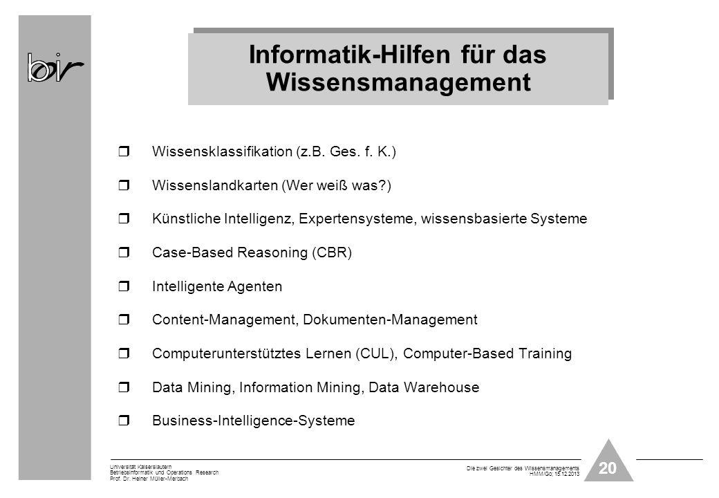 Informatik-Hilfen für das Wissensmanagement