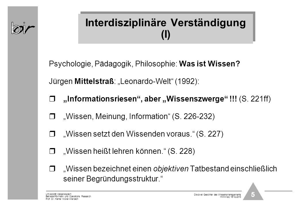 Interdisziplinäre Verständigung (I)