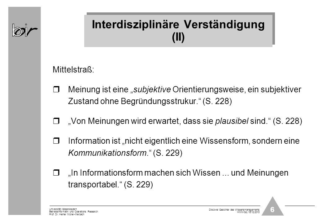 Interdisziplinäre Verständigung (II)