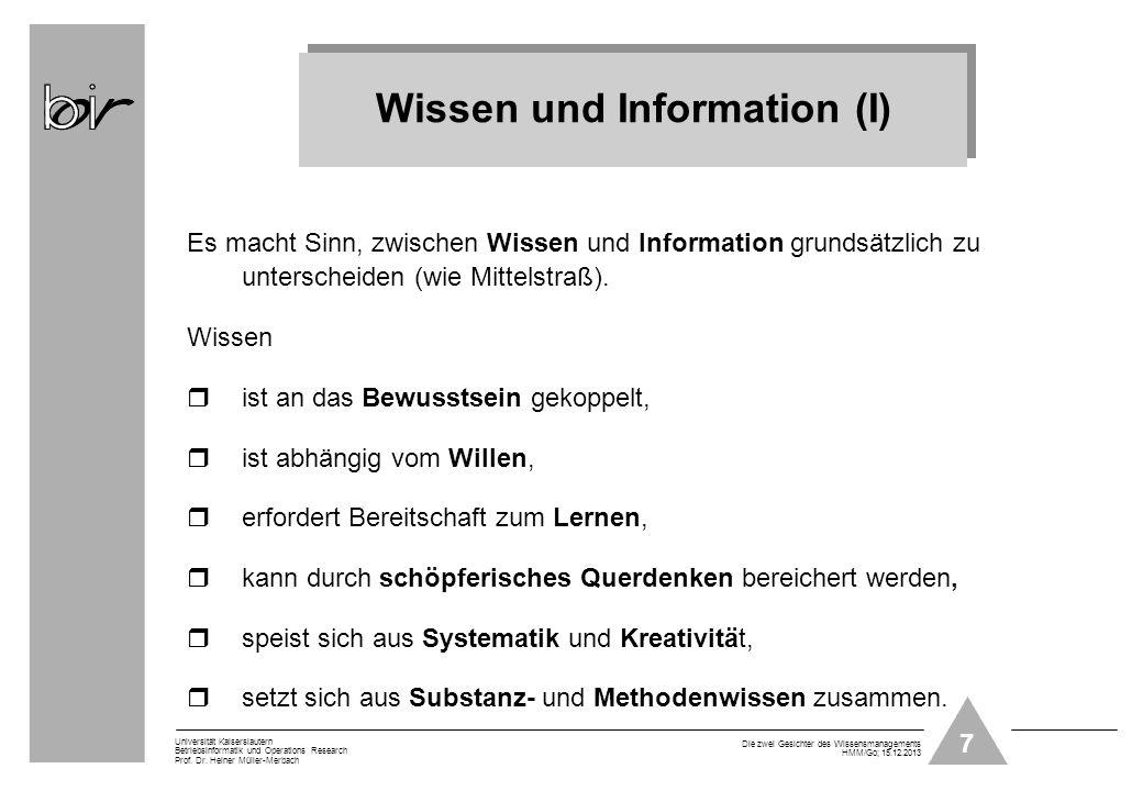 Wissen und Information (I)