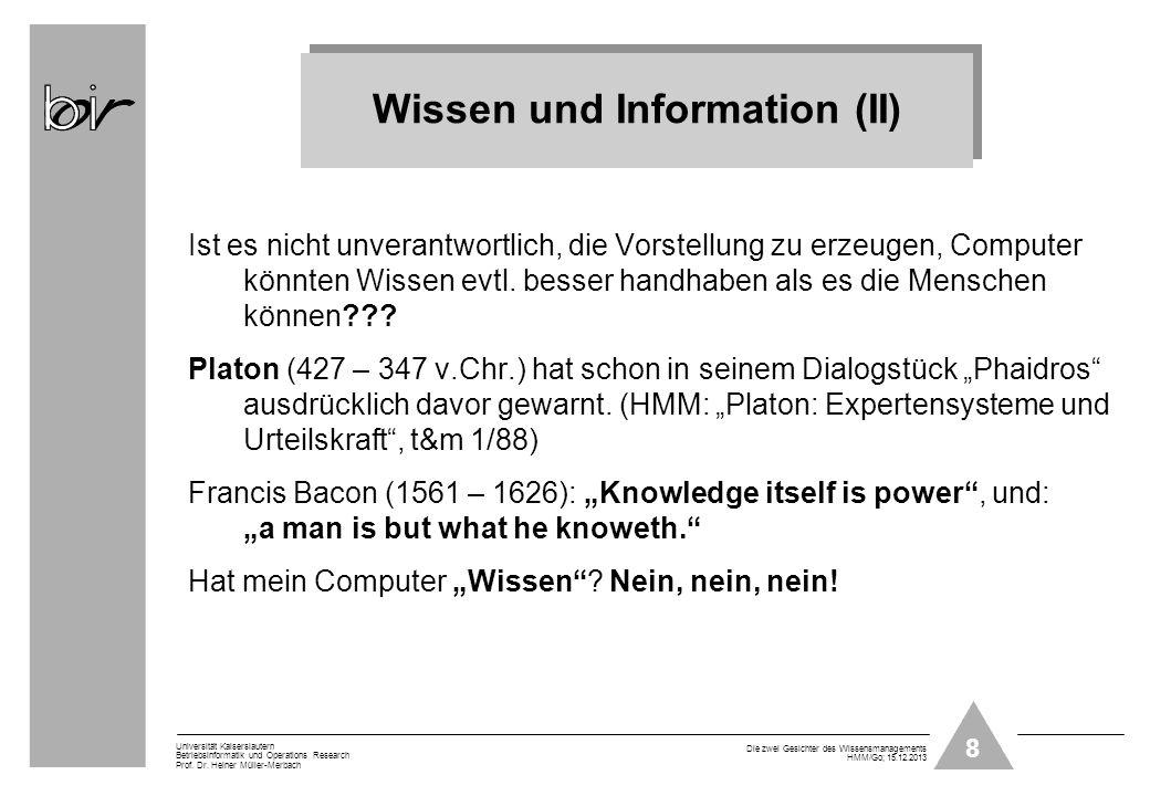 Wissen und Information (II)