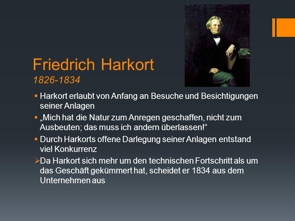 Friedrich Harkort 1826-1834 Harkort erlaubt von Anfang an Besuche und Besichtigungen seiner Anlagen.