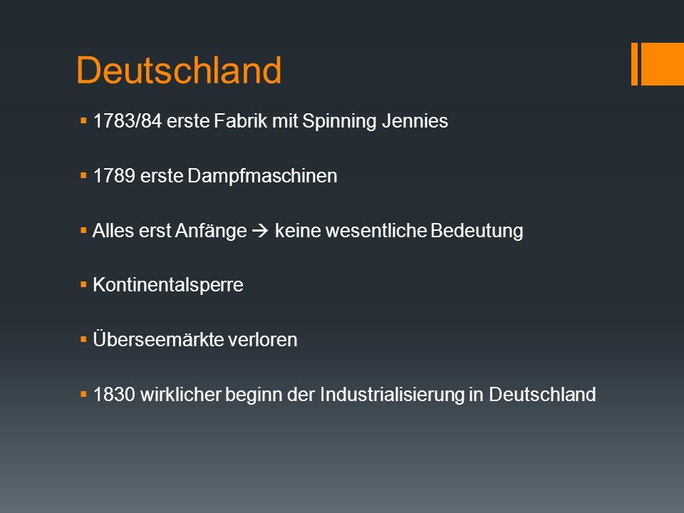 Deutschland 1783/84 erste Fabrik mit Spinning Jennies
