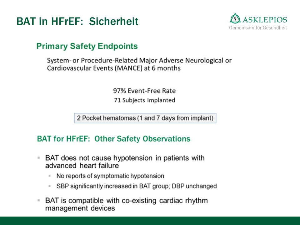 BAT in HFrEF: Sicherheit