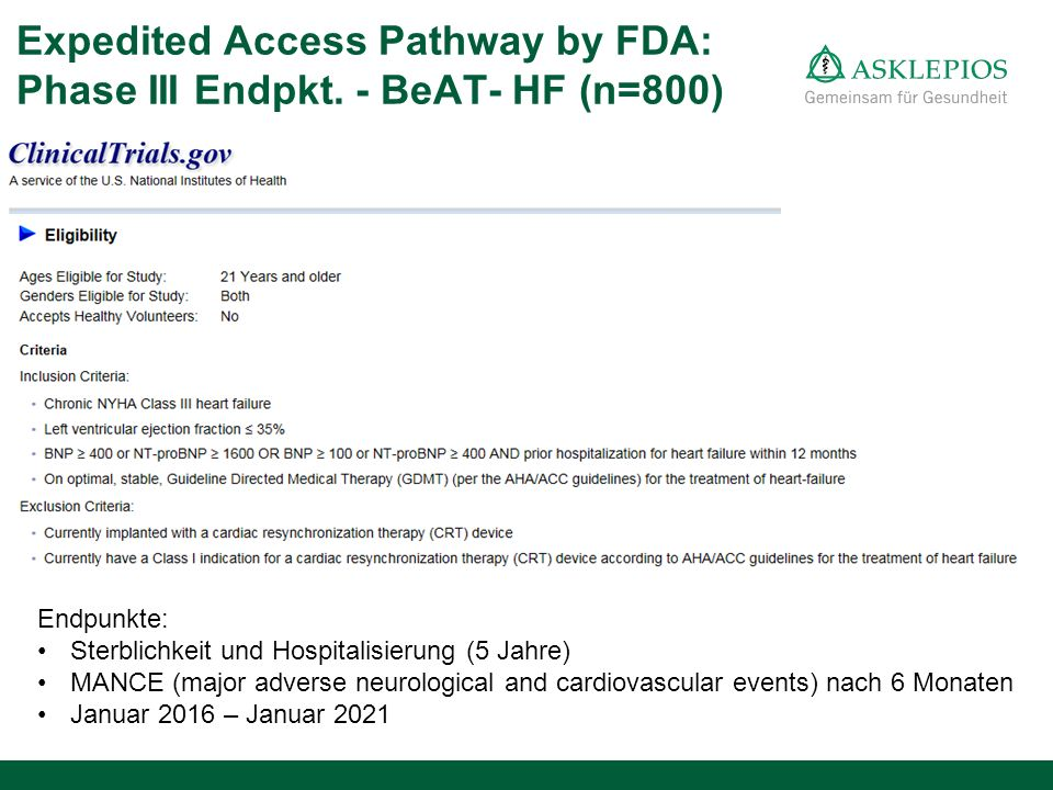 Expedited Access Pathway by FDA: Phase III Endpkt. - BeAT- HF (n=800)