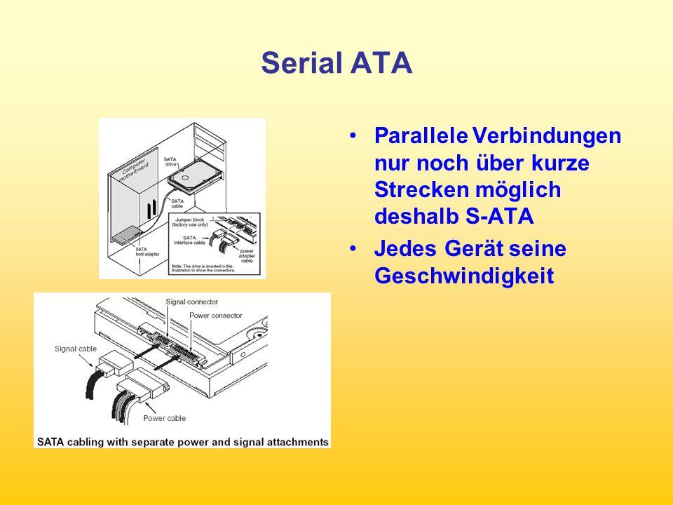 Serial ATA Parallele Verbindungen nur noch über kurze Strecken möglich deshalb S-ATA.