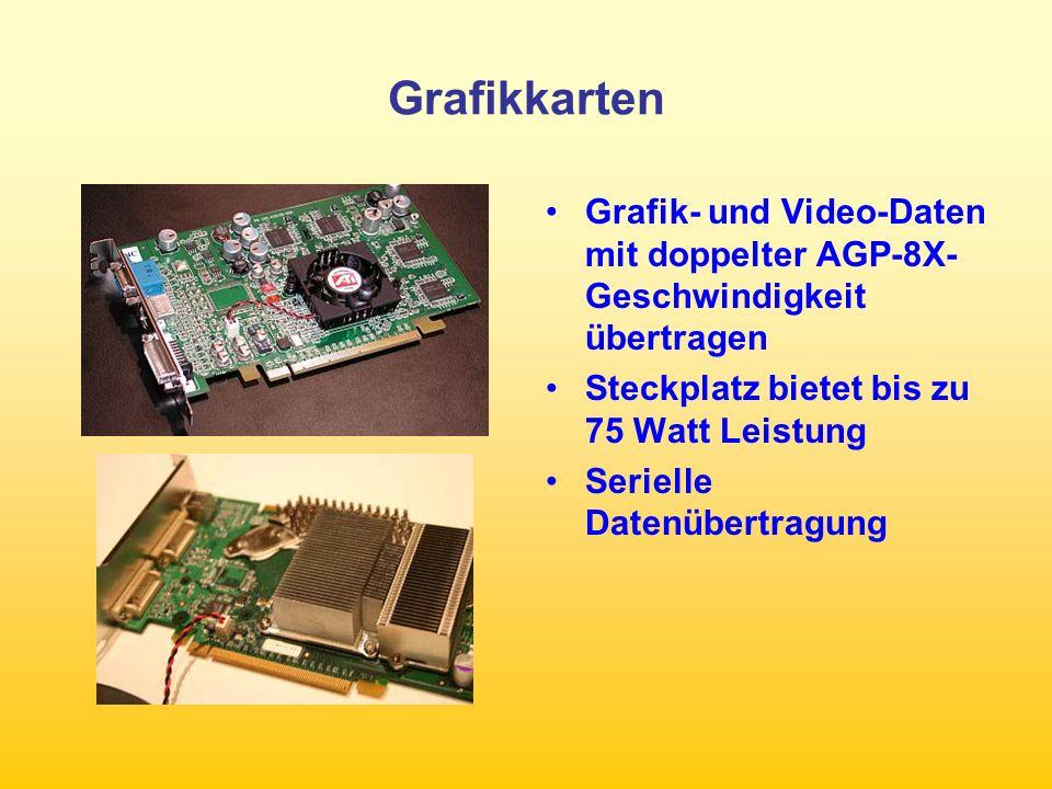 Grafikkarten Grafik- und Video-Daten mit doppelter AGP-8X-Geschwindigkeit übertragen. Steckplatz bietet bis zu 75 Watt Leistung.
