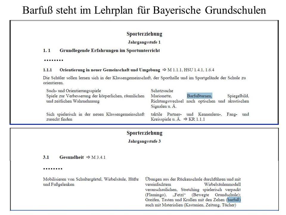 Barfuß steht im Lehrplan für Bayerische Grundschulen