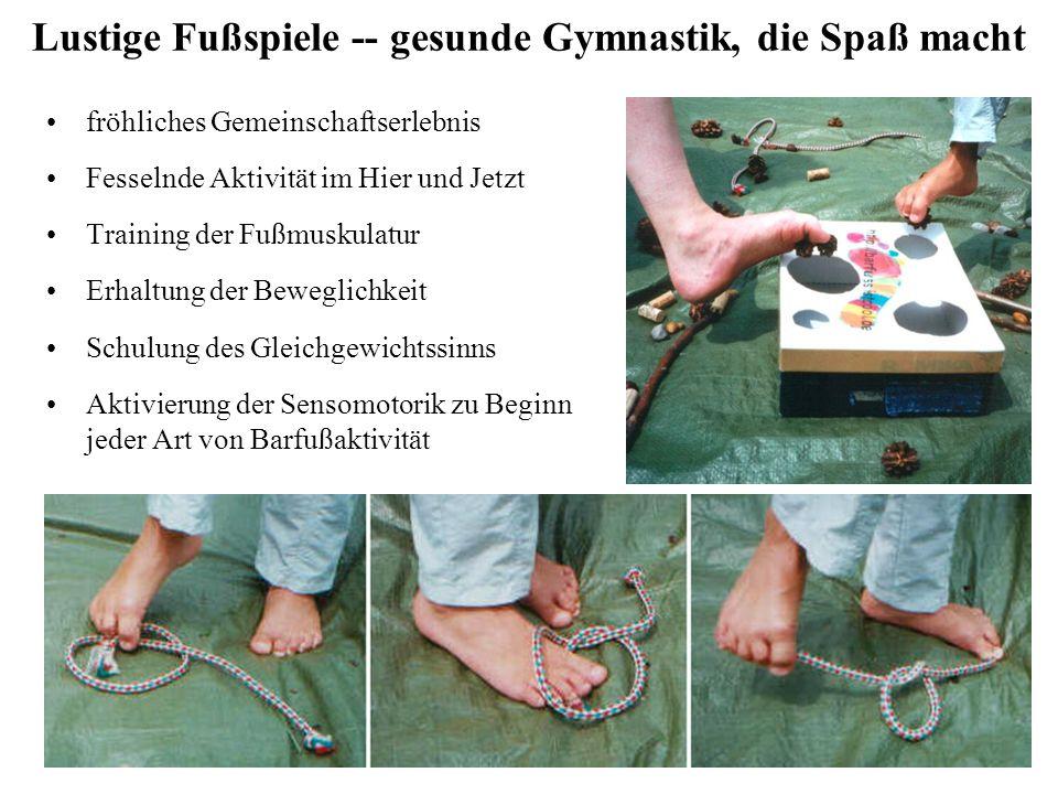 Lustige Fußspiele -- gesunde Gymnastik, die Spaß macht