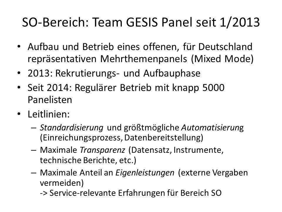 SO-Bereich: Team GESIS Panel seit 1/2013