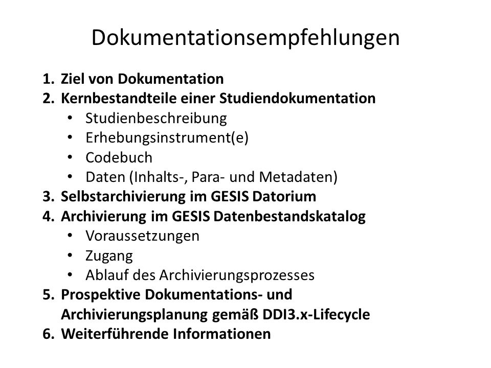 Dokumentationsempfehlungen