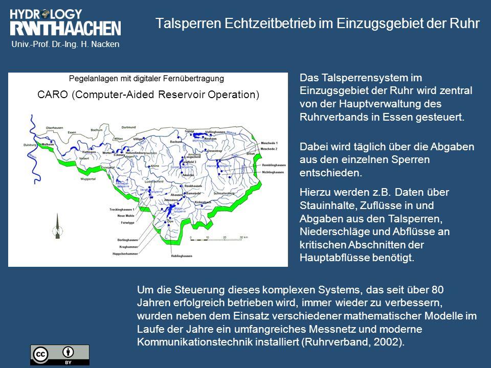 Talsperren Echtzeitbetrieb im Einzugsgebiet der Ruhr