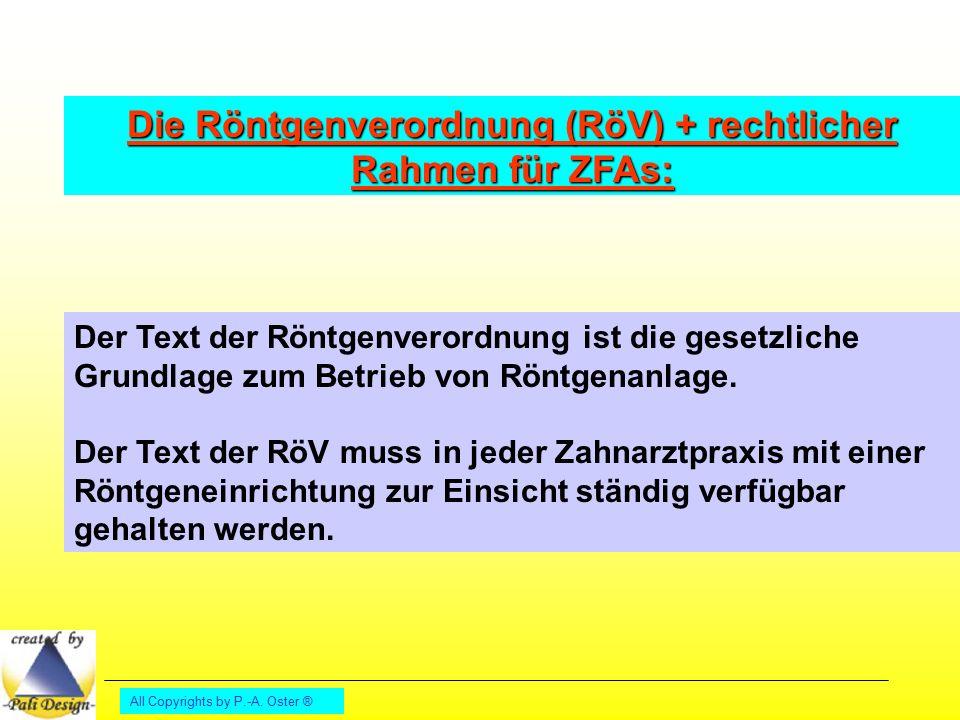 Die Röntgenverordnung (RöV) + rechtlicher Rahmen für ZFAs:
