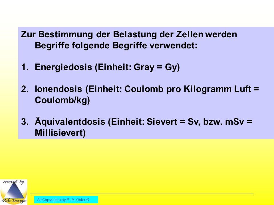 Energiedosis (Einheit: Gray = Gy)