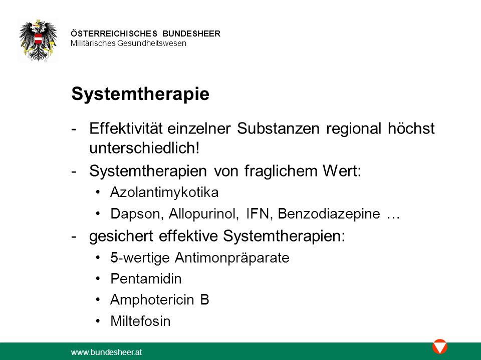 Systemtherapie Effektivität einzelner Substanzen regional höchst unterschiedlich! Systemtherapien von fraglichem Wert: