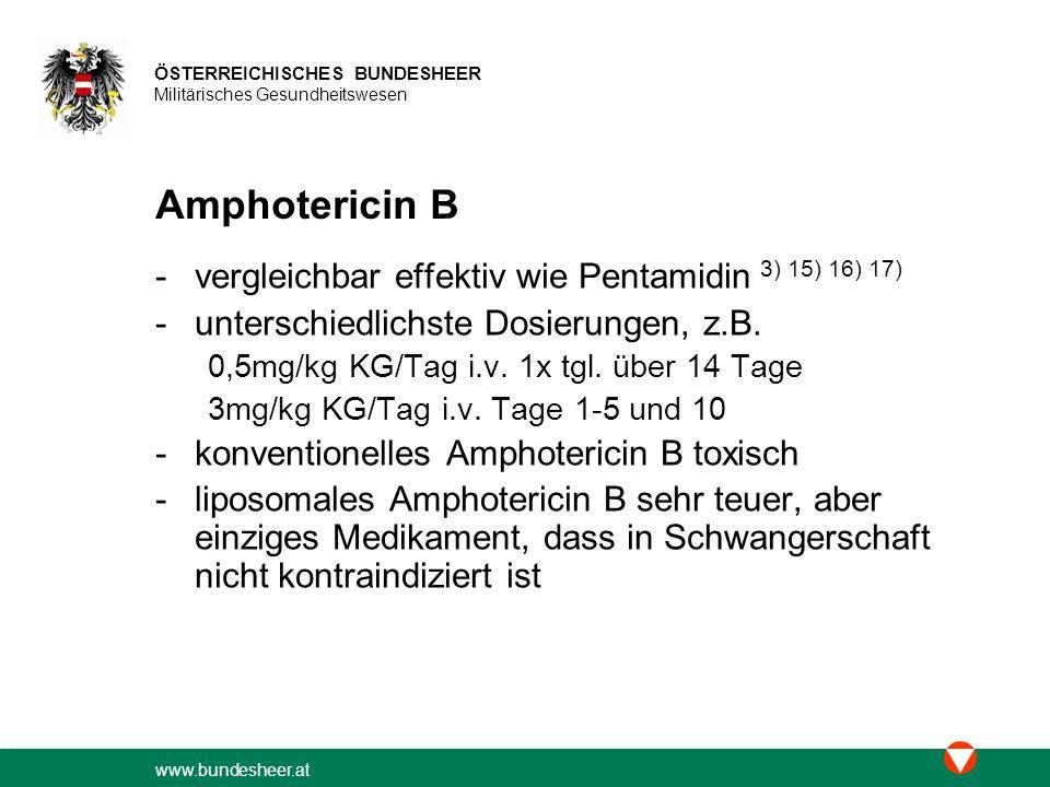 Amphotericin B vergleichbar effektiv wie Pentamidin 3) 15) 16) 17)