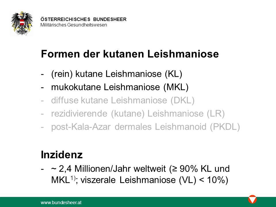 Formen der kutanen Leishmaniose