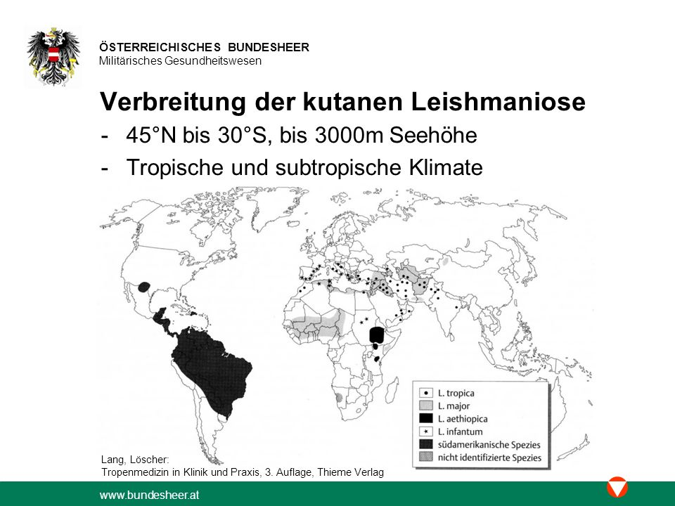 Verbreitung der kutanen Leishmaniose