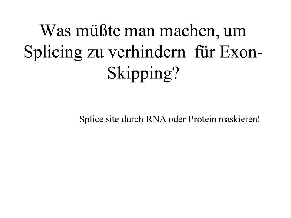 Was müßte man machen, um Splicing zu verhindern für Exon-Skipping