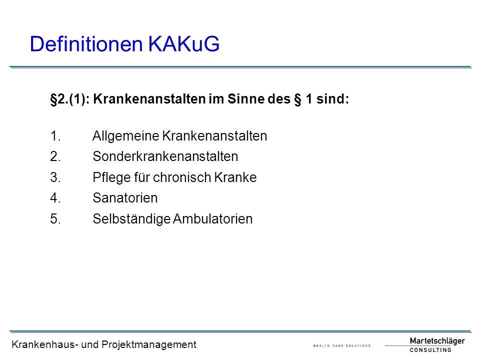 Definitionen KAKuG §2.(1): Krankenanstalten im Sinne des § 1 sind: