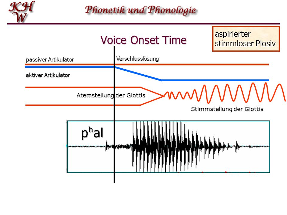 pʰal Voice Onset Time aspirierter stimmloser Plosiv