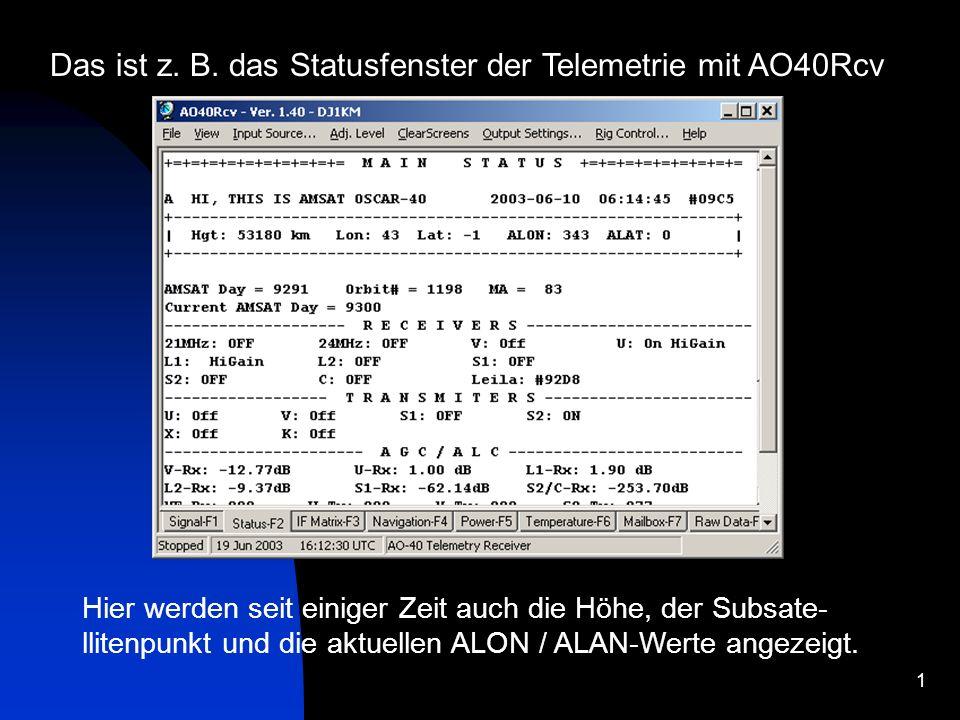 Das ist z. B. das Statusfenster der Telemetrie mit AO40Rcv