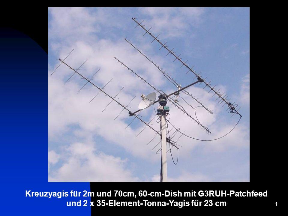 Kreuzyagis für 2m und 70cm, 60-cm-Dish mit G3RUH-Patchfeed und 2 x 35-Element-Tonna-Yagis für 23 cm