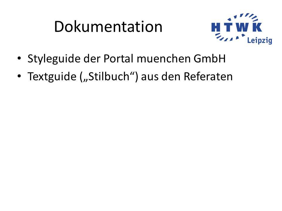 Dokumentation Styleguide der Portal muenchen GmbH