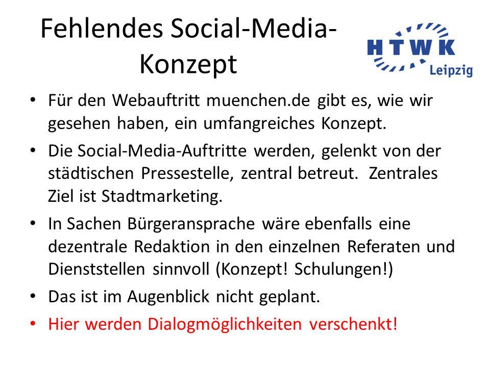 Fehlendes Social-Media-Konzept