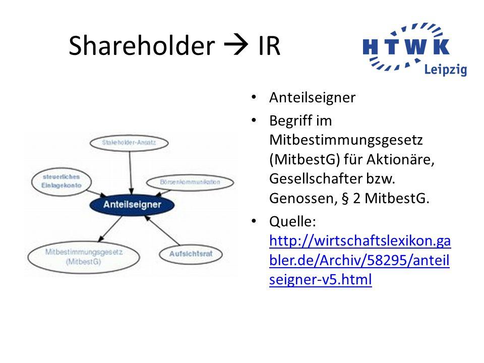 Shareholder  IR Anteilseigner