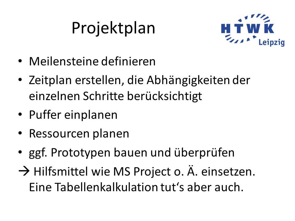Projektplan Meilensteine definieren