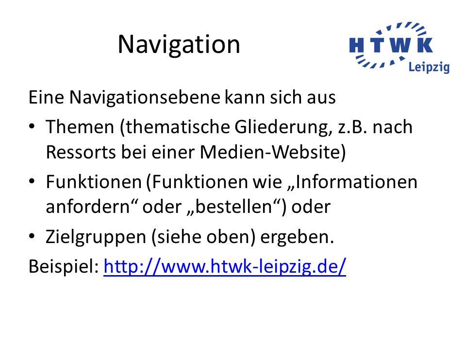 Navigation Eine Navigationsebene kann sich aus