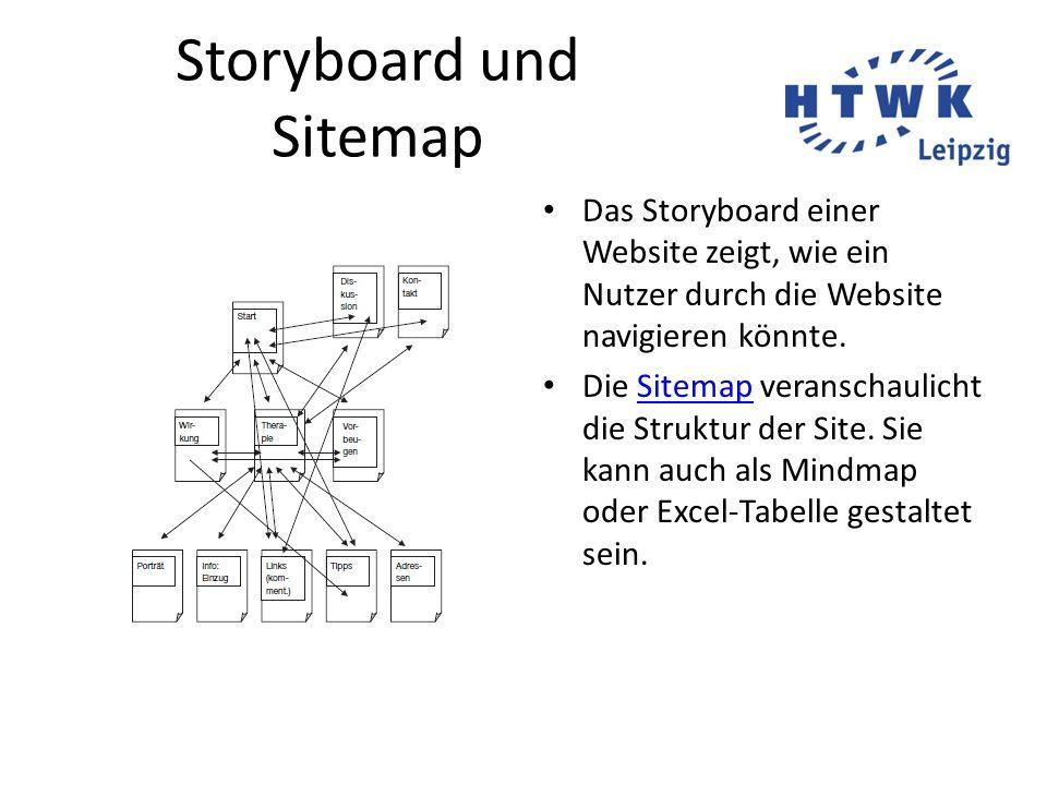 Storyboard und Sitemap