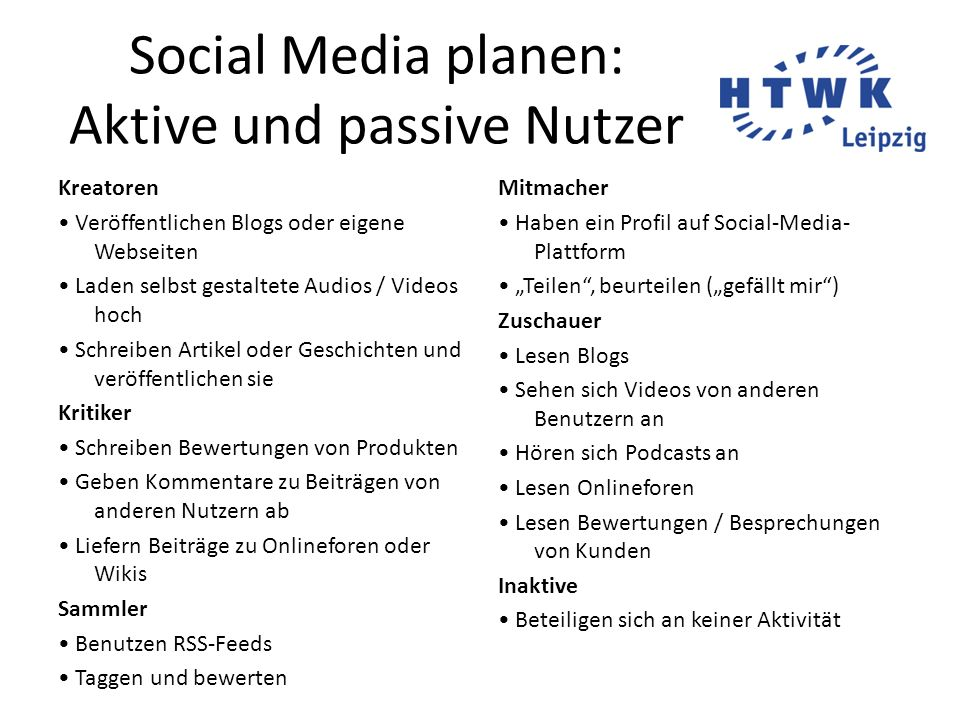Social Media planen: Aktive und passive Nutzer